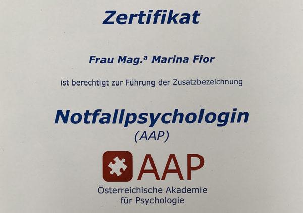 Psychologin Klagenfurt | Zertifikat